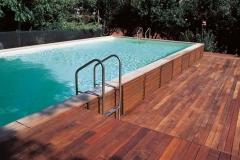 Piscina Laghetto Dolcevita fuori terra rivestimento pannelli legno soppalco legno